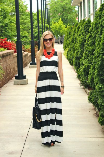 black and white wide striped maxi dress