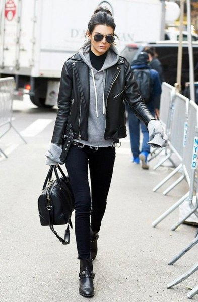 black ankle boots grey hoodie black leather jacket