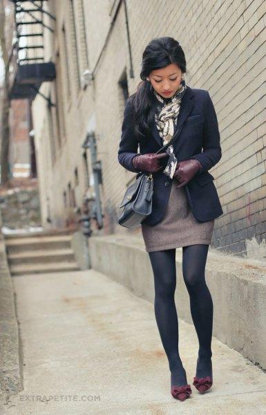 black blazer silk scarf