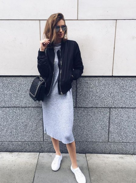 black bomber jacket grey mini sweater dress outfit
