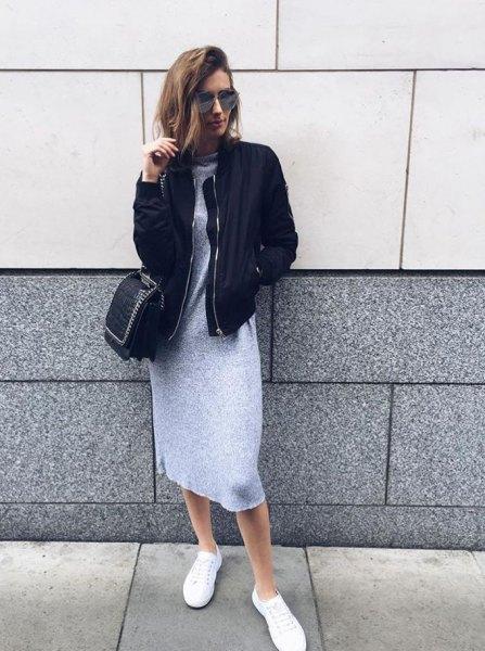 black bomber jacket grey mini sweater dress outfit