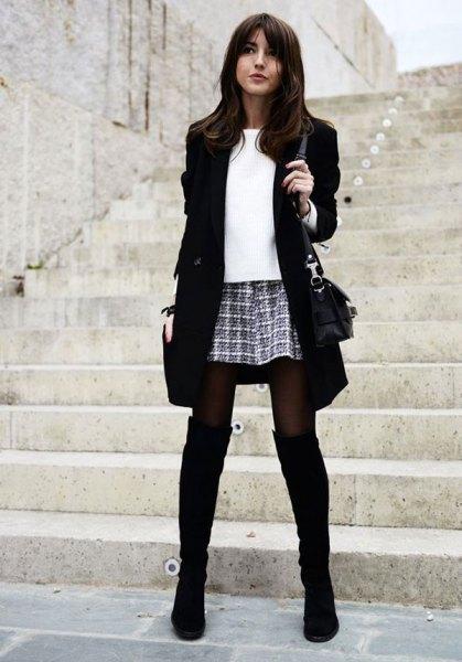 black boots blazer plaid mini skirt