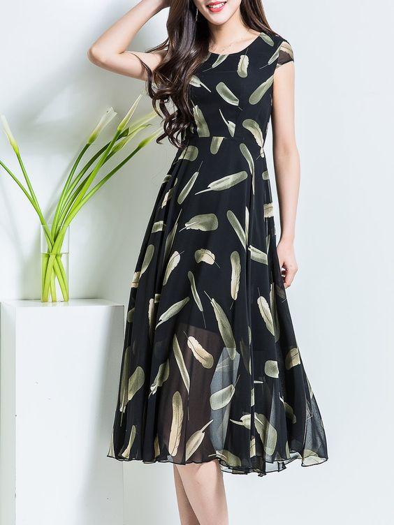 black chiffon dress print