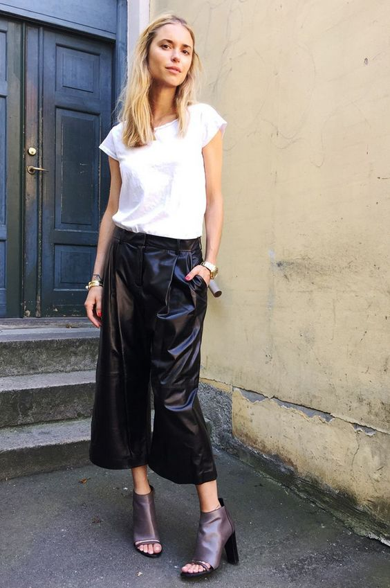 black culottes leather