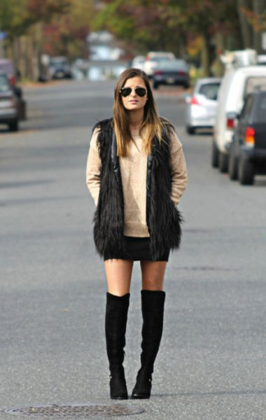 black faux fur vest knee high boots