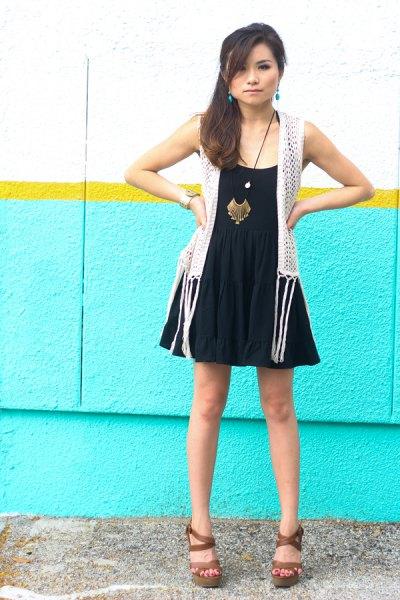 black fit and flare dress white crochet vest