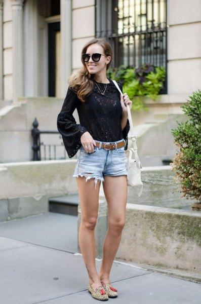 black flare sleeve blouse