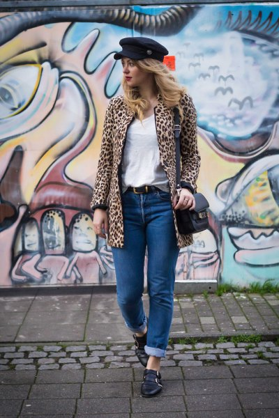 black flat cap cheetah jacket