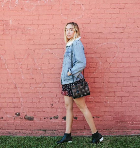black floral chiffon mini skirt outfit
