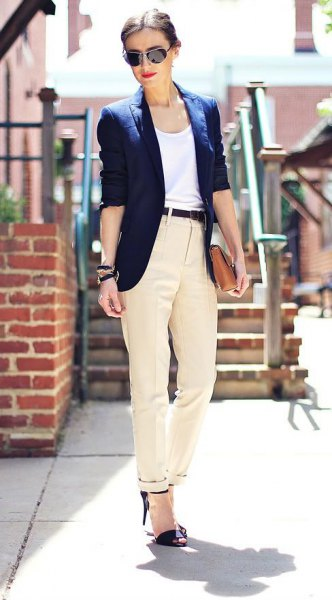 black heels beige dress pants blazer