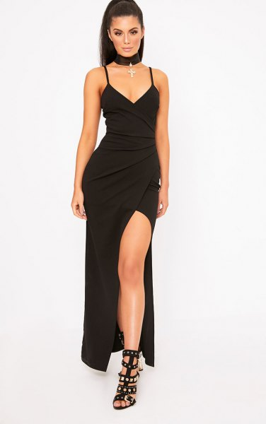 black high split maxi wrap dress
