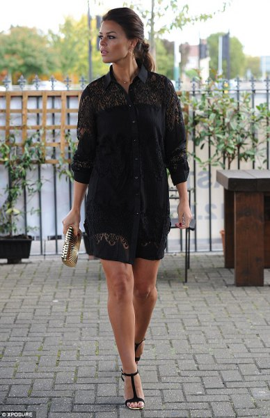 black lace shirt dress outfit