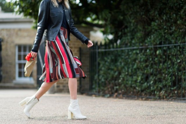 black leather jacket knee length print skirt