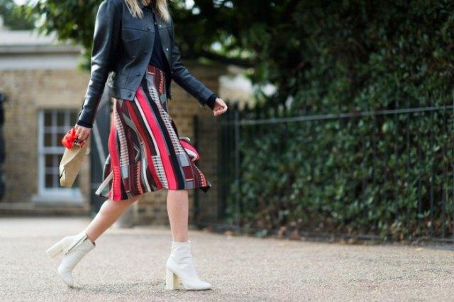 black leather jacket knee length print skirt