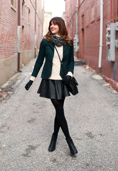 black leather mini skirt leggings blazer boots