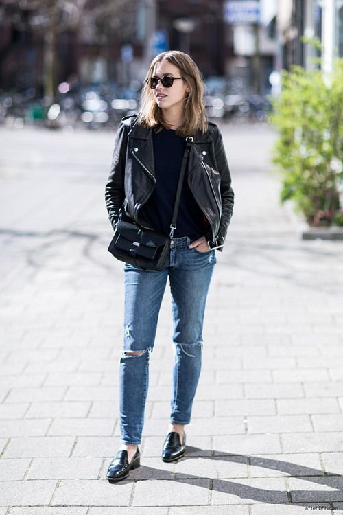 black leather moto jacket loafers