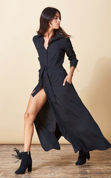 black maxi high split shirt dress