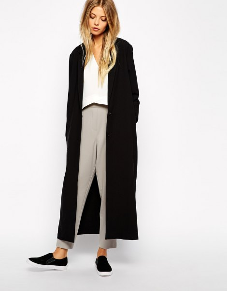 black maxi jacket white blouse grey pants