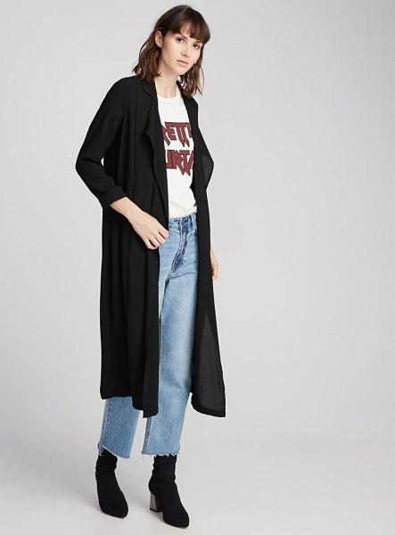black maxi jacket white print t shirt