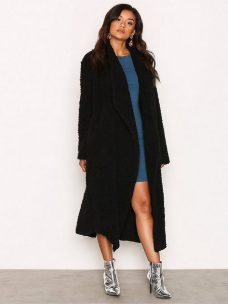 black maxi teddy jacket blue shift dress