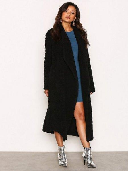 black maxi teddy jacket blue shift dress