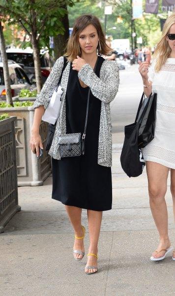 black midi dress heather grey knit sweater cardigan