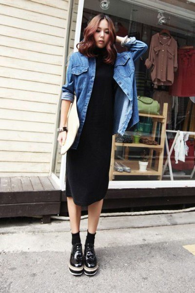 black midi dress oversized denim jacket