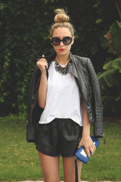 black moto jacket leather shorts