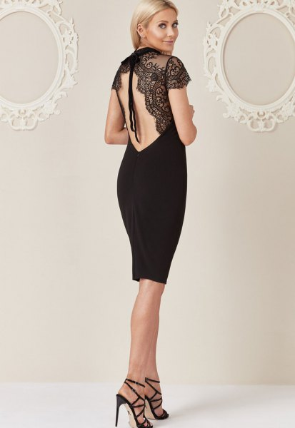 black open back lace dress