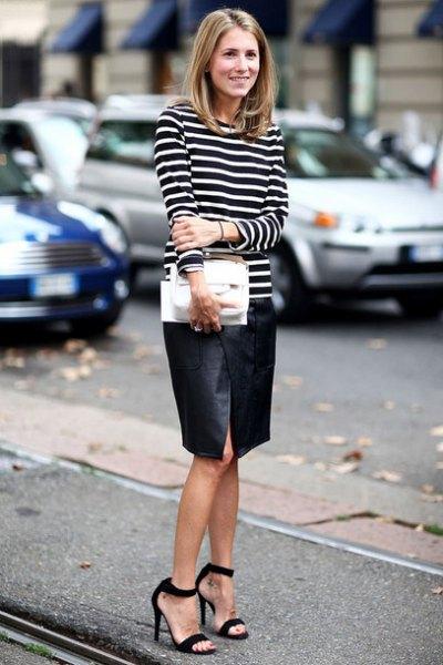 black open toe ankle strap heels leather skirt