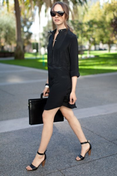 black open toe heels shirt dress