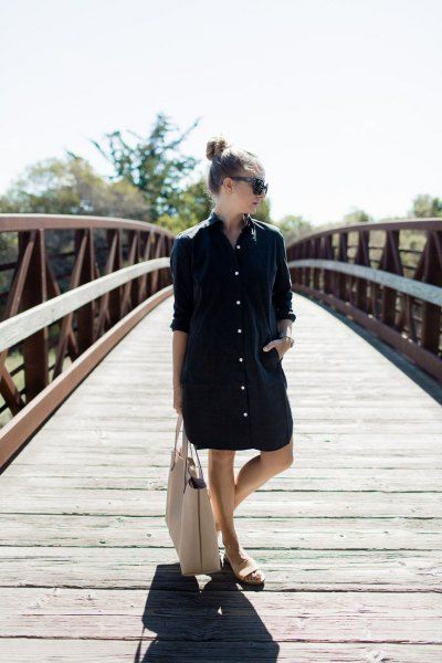 black oversized shirt dress white sandals