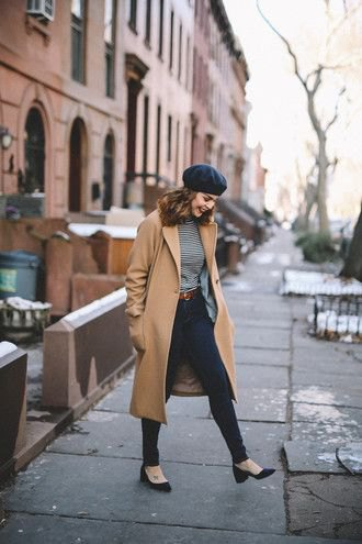 black painters hat long wool coat