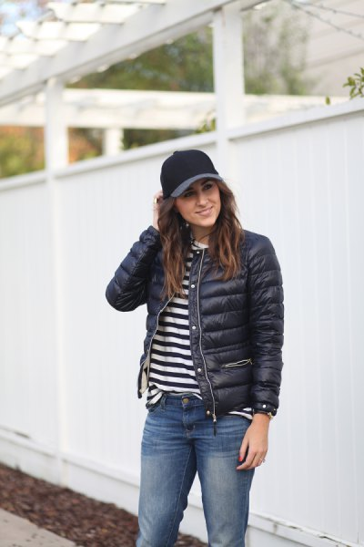 black puffer jacket striped t shirt boyfriend jeans