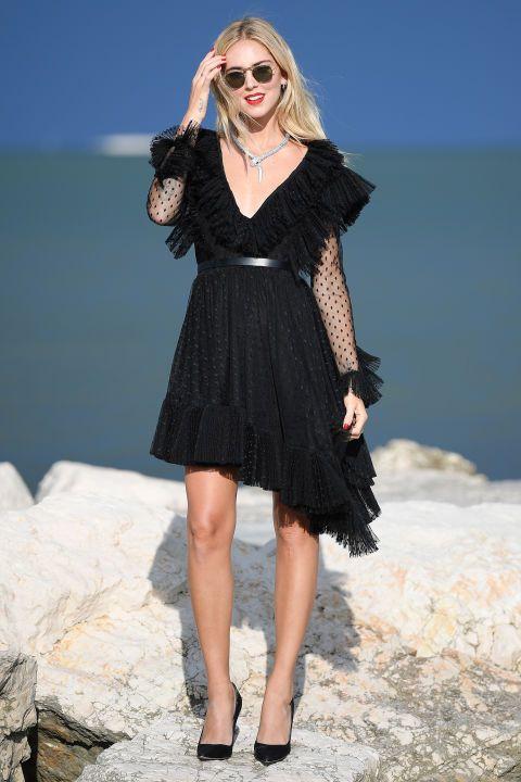 black ruffle dress asymmetric