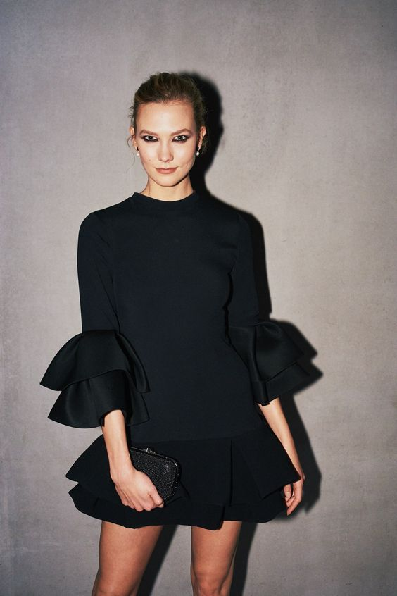 black ruffle dress clean lines