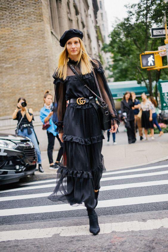 black ruffle dress maxi