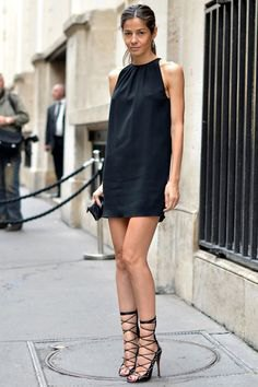 black shirt dress strappy heels