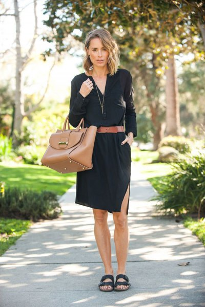 black shirt dress wide brown belt