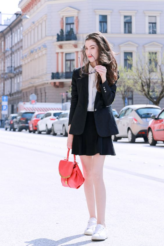 black skater skirt blazer sneakers