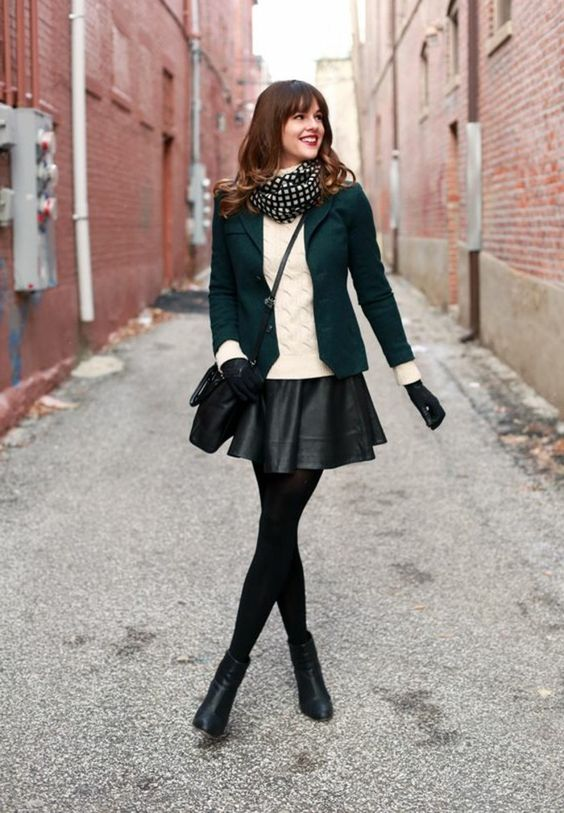 black skater skirt emerald green blazer