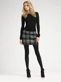 black skinny fit sweater grey plaid wool mini skirt