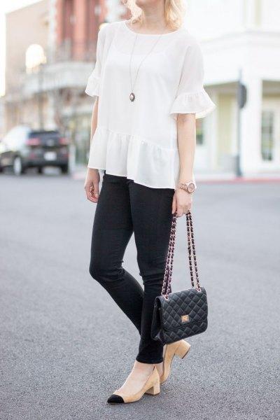 black skinny jeans pale pink heels