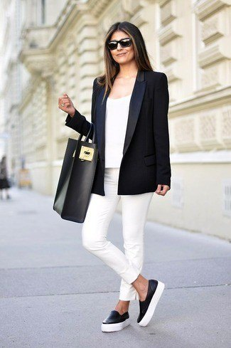 black sneakers blazer white skinny pants