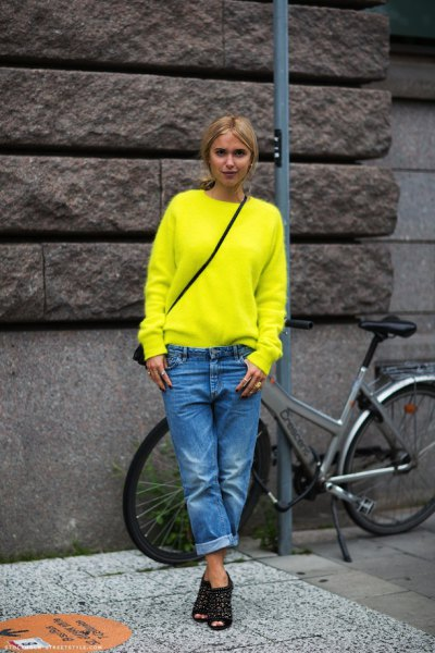 black studded open toe shoes yellow sweater outfit