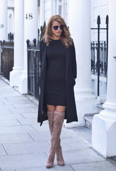 black sweater dress wool coat suede boots