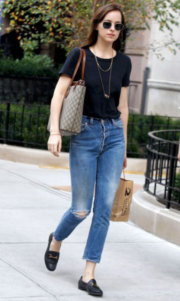 black t shirt jeans loafers