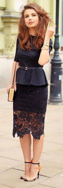 black tie waist blouse midi black lace skirt