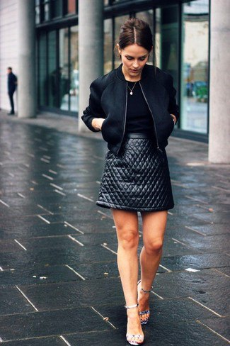 black top bomber jacket leather skirt