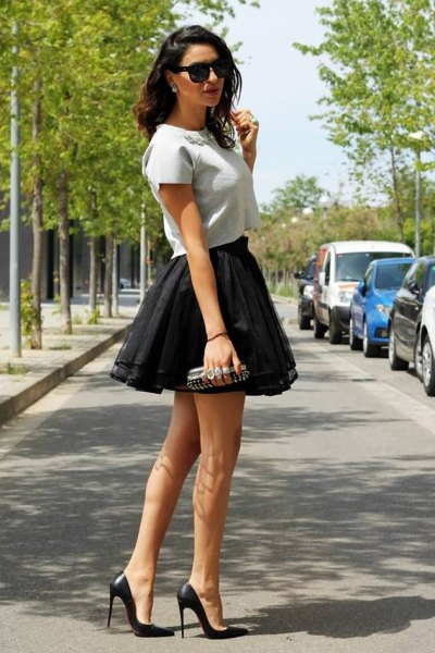 black tulle ruffle mini skirt outfit